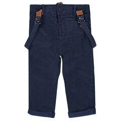 Ίσιο παντελόνι με ζέρσεϊ επένδυση και αφαιρούμενες τιράντες