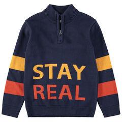 Παιδικά - Πλεκτό πουλόβερ με ζακάρ γράμματα και φερμουάρ στο λαιμό