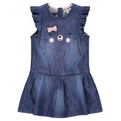 Κοντομάνικο φόρεμα με όψη ντένιμ, βολάν στα μανίκια και κεντημένες λεπτομέρειες