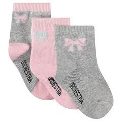 Σετ 3 ζευγάρια ασορτί κάλτσες με ζακάρ φιόγκο