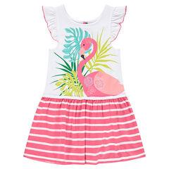 Φόρεμα με βολάν, ροζ φλαμίνγκο και τυπωμένες ρίγες
