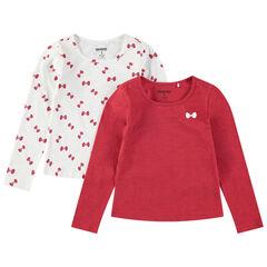 Σετ 2 μακρυμάνικες μπλούζες, μία μονόχρωμη/μία εμπριμέ με μοτίβο φιογκάκια