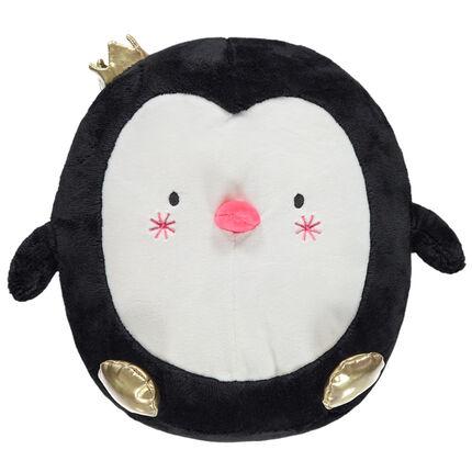 Pingouin en peluche avec touches de doré esprit Noël