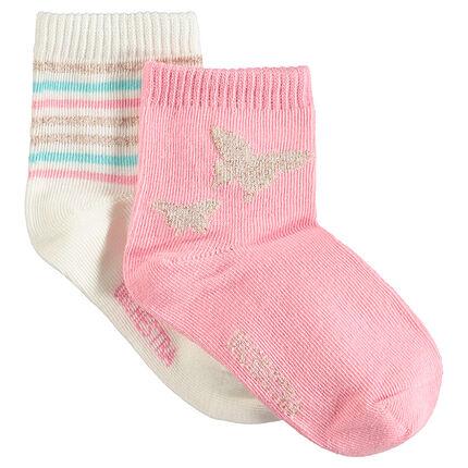 Σετ 2 ζευγάρια κάλτσες με γυαλιστερά σχέδια