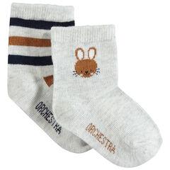 Σετ 2 ζευγάρια κάλτσες ασορτί με ζακάρ ρίγες και λαγουδάκι