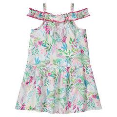 Φόρεμα με άνοιγμα στους ώμους και φλοράλ μοτίβο