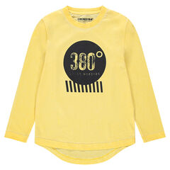 Παιδικά - Κοντομάνικη μπλούζα ζέρσεϊ νηματοβαφή με στάμπα