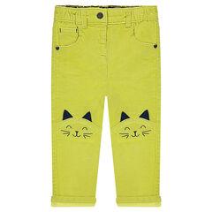 Παντελόνι βελουτέ σε χρώμα πράσινο με κεντημένες γάτες