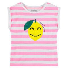 Κοντομάνικη μπλούζα ζέρσεϊ με ρίγες και λεμόνι από «μαγικές» πούλιες