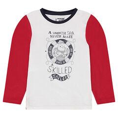Μακρυμάνικη μπλούζα ζέρσεϊ με ναυτικό τύπωμα