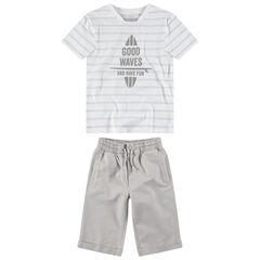 Παιδικά - Σύνολο κοντομάνικη μπλούζα με τύπωμα και μονόχρωμη βερμούδα