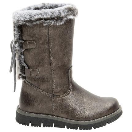 Μπότες από συνθετικό δέρμα με δέσιμο με διακοσμητικό σχέδιο και συνθετική γούνα, σε νούμερα 24 έως 27