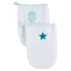 Σετ 2 γάντια μπάνιου με κεντημένο αστεράκι και παπάκι