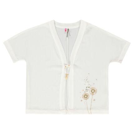 Παιδικά - Ελαφριά ζακέτα κιμονό με κοντά μανίκια και τύπωμα