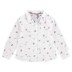 Μακρυμάνικο πουκάμισο με εμπριμέ μοτίβο κεράσια