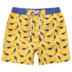 Εμπριμέ κίτρινο  μαγιό-σορτσάκι με μοτίβο φάλαινες