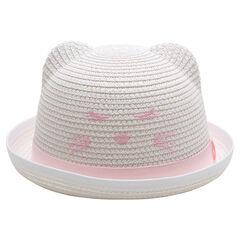 Καπέλο με όψη ψάθας, ανάγλυφα αυτάκια και κεντημένες λεπτομέρειες