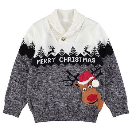 9c476ef8205 Χριστουγεννιάτικο πλεκτό πουλόβερ με τάρανδο και ζακάρ μπορντούρα ...