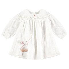 Μακρυμάνικο βαμβακερό φόρεμα με τυπωμένη κούκλα με παγιέτες