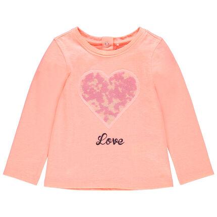 Μακρυμάνικη μπλούζα με καρδιά από πούλιες
