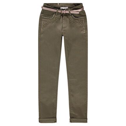 Slim παντελόνι με φαντεζί τρουκ και μεταλλιζέ ζώνη