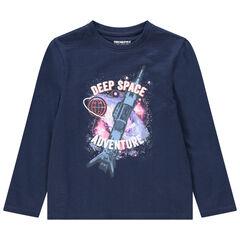Μακρυμάνικη μπλούζα από ζέρσεϊ με διακοσμητικό μοτίβο