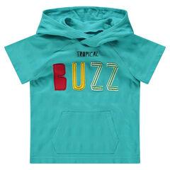 Κοντομάνικη μπλούζα με κουκούλα, απλικέ φράση και τσέπη