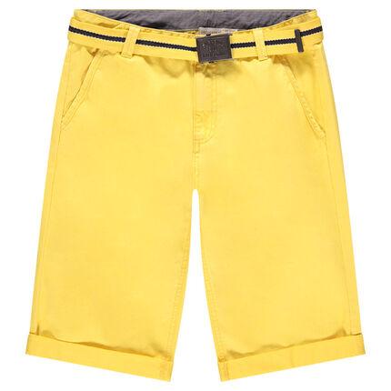 Παιδικά - Κίτρινη βαμβακερή βερμούδα με αφαιρούμενη ζώνη