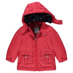 Αντιανεμικό κόκκινο από καουτσούκ με επένδυση ζέρσεϊ, με τσέπες και αφαιρούμενη κουκούλα