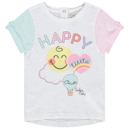 Κοντομάνικη μπλούζα με στάμπα Smiley και μανίκια που κάνουν αντίθεση