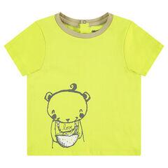 Κοντομάνικη μπλούζα ζέρσεϊ με τυπωμένο αρκουδάκι