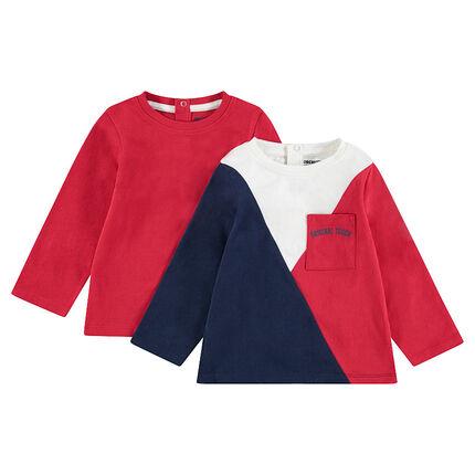 Σετ 2 μακρυμάνικες μπλούζες από ζέρσεϊ, μία μονόχρωμη / μία δίχρωμη με τσέπη
