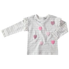 Μακρυμάνικη ριγέ μπλούζα με ανάγλυφα μοτίβα από παγιέτες