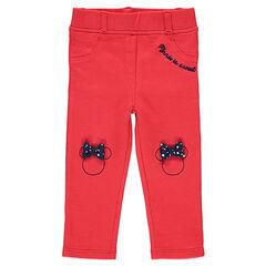 Κόκκινο παντελόνι-κολάν ζέρσεϊ με κεντημένα περιγράμματα της Minnie και φιόγκους