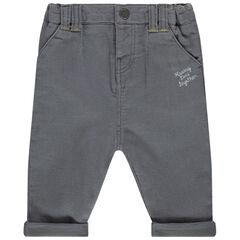 Pantalon en velours à inscriptions brodées