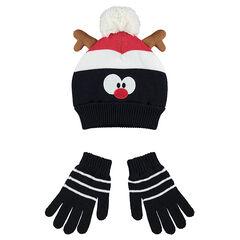 Σετ με σκούφο και γάντια με επένδυση από sherpa και μοτίβο τάρανδο