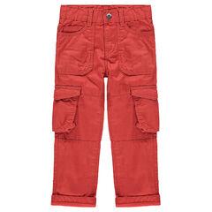 Κόκκινο υφασμάτινο παντελόνι με τσέπες στα μπατζάκια