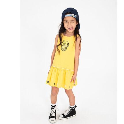 Κίτρινο ζέρσεϊ φόρεμα με στάμπα τη Μίνι της ©Disney μπροστά