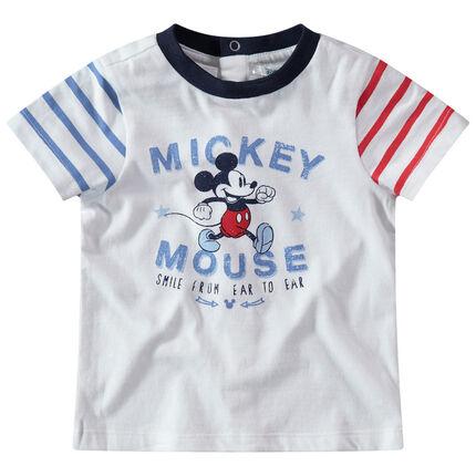Κοντομάνικη μπλούζα με στάμπα Μίκυ της Disney και ριγέ μανίκια