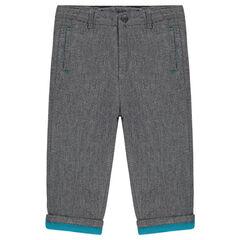 Βαμβακερό φαντεζί παντελόνι με φλις επένδυση σε αντίθεση
