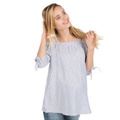 Ριγέ μπλουζάκι εγκυμοσύνης με αζούρ σχέδιο στους ώμους