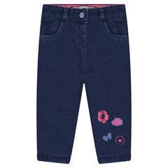 Παντελόνι από φανέλα με όψη ντένιμ και κεντήματα σε αντίθεση