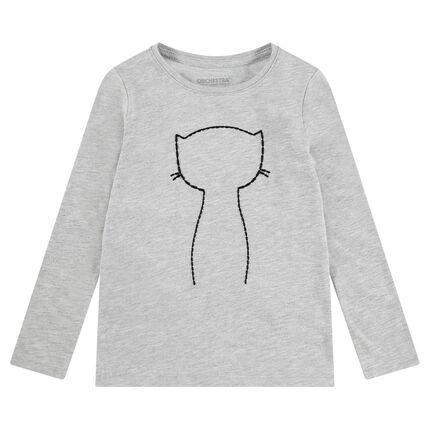 Μακρυμάνικη ζέρσεϊ μπλούζα ζέρσεϊ με γάτα και αυτοκόλλητα σήματα με πούλιες