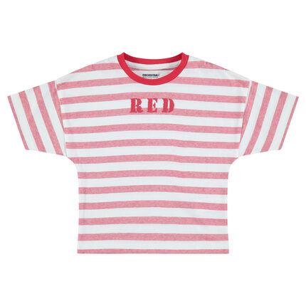 Κοντομάνικη ριγέ μπλούζα με τυπωμένη φράση
