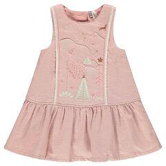 Φόρεμα βαμβακερό πουά με κεντήματα και δαντέλα