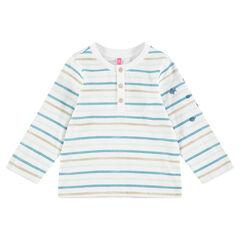 Μακρυμάνικη ζέρσεϊ μπλούζα με ρίγες σε αντίθεση