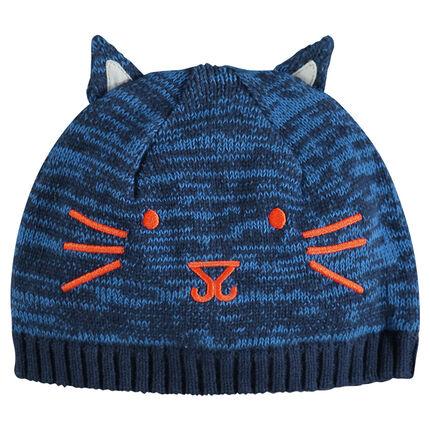 Bonnet en maille nuancée avec oreilles cousues et borderie tête de chat