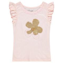 Κοντομάνικη ζέρσεϊ μπλούζα με λουλούδι από «μαγικές» πούλιες