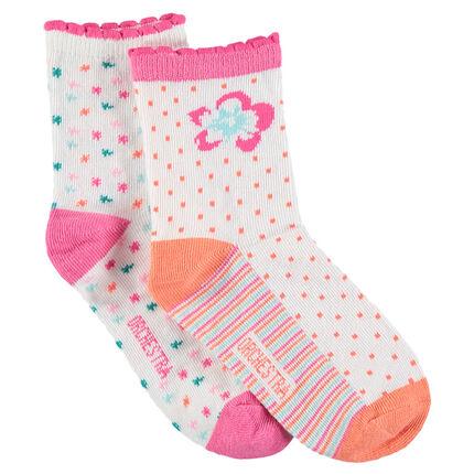 Σετ με 2 ζευγάρια κάλτσες με λουλούδια και μοτίβα ζακάρ