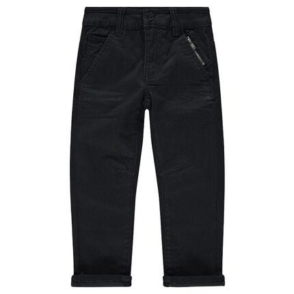 Μονόχρωμο παντελόνι σε ίσια γραμμή με τσέπες με φερμουάρ